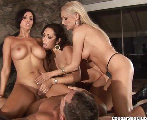 3 Busty Cougars Rock A Fat Cock